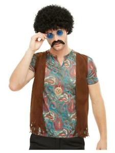 Adult Male 1970s Hippie Kit Afro Wig, Glasses, Tash & Necklace Fancy Dress