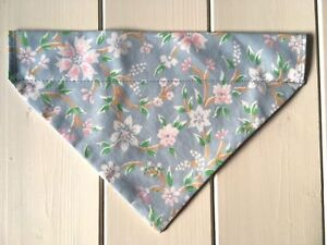 Handmade Blue Ditsy Floral Over Collar Dog Bandana - various sizes available