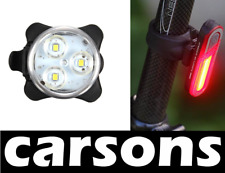3 LED Anteriore e Posteriore COB USB ricaricabile BICICLETTA Luci Set Kit Lampada carsons