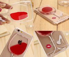 For iPhone 6 / 6S (4.7 inch) TPU Rubber Gummy Skin Case Red Wine Glass w/ Liquid