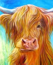 """Highland Cow Colourful Animal wall art printed on canvas 22'' X 16"""" solid frame"""