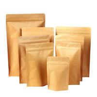 20pcs Aluminum Foil Lined Kraft Paper Pouch Gift Bag Food Storage Seal Zip Lock-
