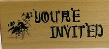 "invitation club scrap  Wood Mounted Rubber Stamp 2 1/2x1 "" Free Shipping"