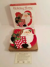 """Nib Fitz & Floyd Holiday Home 8"""" Santa Canape Cookie Plate That's A Wrap"""