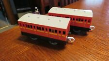 TOMY 2002 Thomas & Friends Trackmaster Train Red Passenger Coaches 2 Cars Lot