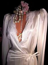 Vtg Silky Hollywood Nylon French Lace Pin Up Chic Shabby Nightgown Robe S 34 P