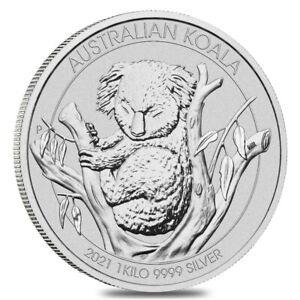 2021 1 Kilo Silver Australian Koala Perth Mint .9999 Fine BU In Cap