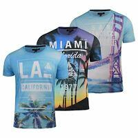 Mens Firetrap T-Shirt Sunny City  Short Sleeve Crew Neck Cotton Print Tee Top