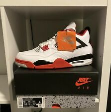 Nike Air Jordan 4 Athletic Men's Shoes - True White/Fire Red/Black Size 12 EARLY