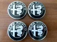 SET of 4pcs Alfa Romeo BLACK GIULIA emblems 50mm - 147, 156 - for hub caps