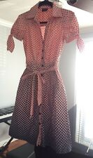 BCBG Paris Pink Navy Blue Polka Dot Retro Style Cotton Shirt Flare Dress Sz 2