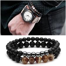 Bracciale SET 2 braccialetti da uomo con pietre dure agata bracciali naturali
