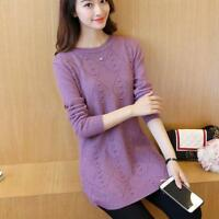 Korean Women Stylish Loose Knitted Sweater Round Neck Long Sleeve Tops Knitting