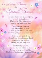 💔Grave Card IN LOVING MEMORY OF A SPECIAL FRIEND Poem Verse Memorial Funeral💔