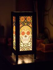Asian Vintage Style Paper Bedside Table Lamp Decor: Calavera Mexican Sugar Skull