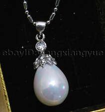 "12X16MM Drop White Sea Shell Pearl Gemstone Crown Pendant necklace 17"" AAA Grade"
