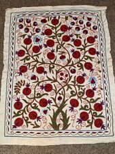 Silk Beautiful Vintage Uzbek Hand Embroidery Wall Hanging Best Gift Suzani