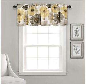 Diana Linen- Leah One Valance, 18 x 52, Yellow/Gray - NEW