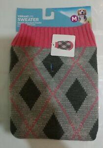 Vibrant Life Warm Knit Dog Sweater Dark Pink Argyle
