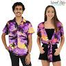 Purple Sunset Ladies Wrap Top & Mens Hawaiian Shirt Couple Set