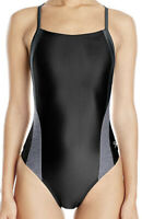 NWT Speedo Women's Swimwear Flyback 1Pc Black/Gray Size 26