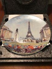 Vtg Porcelain Limoges Paris La Tour Eiffel Plate W/Coa Free Shipping