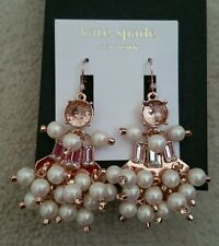 NWT Kate Spade CLINK CLINK PEARLY BEADED STATEMENT EARRINGS, ROSE GOLD