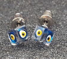 3D Nazar Boncuk Würfel Ohrstecker Ohrringe Evil Eye Magisches Auge Kristall