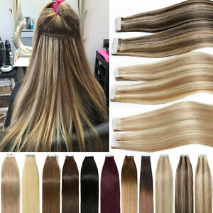 Tape In Hair Extensions Invisible Skin Weft Remy Human Hair Balayage Ombre Style