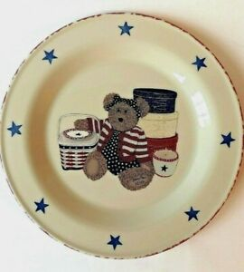 Henn Workshops Pottery Patriotic 20th Anniversary Glory Bear Picnic Plate  Stars