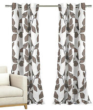 Set of 2 Window Curtain Panels White Mocha Taupe Grey Floral Design Grommets 84L