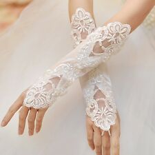 Bridal Beads Lace Emboridery Fingerless Long White Gloves for Wedding