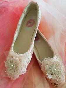 VINTAGE ROMANCE VICTORIAN STYLE 3D LACE BRIDAL WEDDING HEELS PARTY CLUB COSTUME