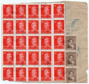 1956 ARGENTINA MONEY REMITTANCE COVER, BLOCK OF 25 STAMPS + STRIP !!