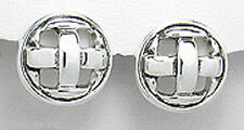 Solid Sterling Silver 21mm Woven Modern Circle Stud Earrings 5.5gr Premium backs