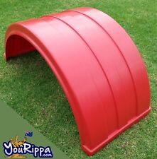 4 x RED RIBBED PLASTIC TRUCK DUAL WHEEL MUDGUARD SUIT SEMI TRAILER SPECIAL NEW