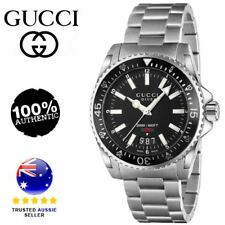 New Gucci Dive Black Dial Stainless Steel 40mm Men's Watch YA136301