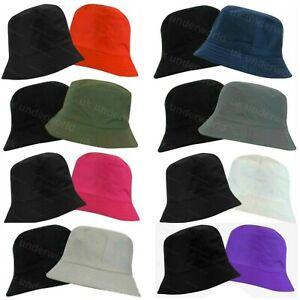 Boys Girls Hat Childrens Reversible Cotton Bucket Bush Summer Sun Beach Cap