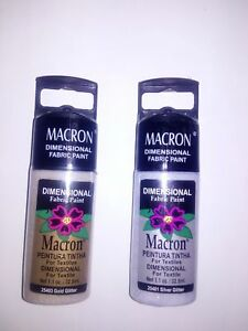 Macron Dimensional fabric paint for textiles Glitter 1.1 OZ 32.5ML free shipping