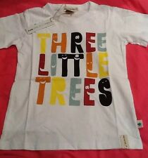 Boys Size 7-8 White Three Little Trees Logo Designer Tee Top New BNWT Casual