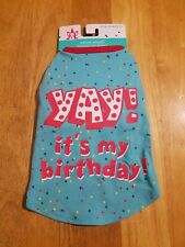 """New listing Dog Dazzlers Blue """"Yay! It'S My Birthday"""" T-Shirt Puppy/Dog Xs~Chest 12-15in"""