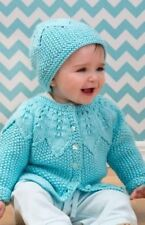 baby girls bright baby cardigan and hat set knitting pattern