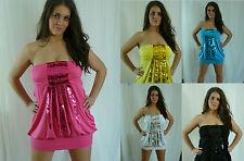 Sexy Clubwear Lentejuelas Mini Vestido túnica Talla Plus Vestido 10,12,14,16,18 vendedor Reino Unido