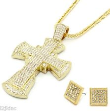 Mens Large XL Cross Gold Full Iced Out Pendant 36 Inch Necklace Franco Chain G08