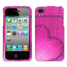 For Apple iPhone 4 4S HARD Protector Case Snap On Phone Cover Pink Heart Jeans
