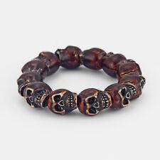 1 Men's Dark Brown Resin Skeleton Skull Heads Elastic Wristband Bracelet Bangle