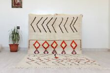 "Authentic Moroccan Rug Handmade Tribal Berber White Rug 7'4""x3'7 Wool Carpet Rug"