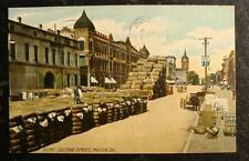 1908 Postcard-Bales Of Cotton On Second Street, Macon, Ga.