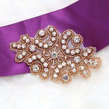 Vintage Style Rose Gold Beaded Rhinestone Crystal Wedding Bridal Applique