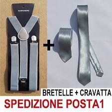 BRETELLE + CRAVATTA SLIM 5cm UOMO ADULTO REGOLABILI CRAVATTINO GRIGIO CHIARO